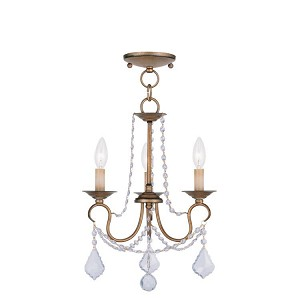 "Pennington Collection 3-Light 13"" Antique Gold Leaf Convertible Chain Hang/Ceiling Mount 6513-48"
