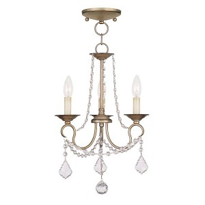 "Pennington Collection 3-Light 13"" Antique Silver Leaf Convertible Chain Hang/Ceiling Mount 6513-73"