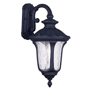 "Oxford Collection 1-Light 19"" Black Outdoor Wall Lantern with Clear Water Glass 7853-04"