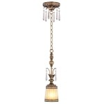"La Bella Collection 1-Light 5"" Vintage Gold Leaf Mini Pendant with Gold Dust Glass Shade and Crystal 8800-65"