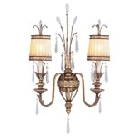 "La Bella Collection 2-Light 17"" Vintage Gold Leaf Wall Sconce with Gold Dust Glass Shades and Crystal 8802-65"