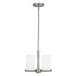 "Astoria Collection 2-Light 12"" Brushed Nickel Convertible Pendant/Ceiling Mount with Hand Blown Satin White Glass 1322-91"