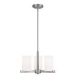 "Astoria Collection 3-Light 13"" Brushed Nickel Chandelier with Hand Blown Satin White Glass 1323-91"