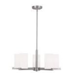 "Astoria Collection 5-Light 25"" Brushed Nickel Chandelier with Hand Blown Satin White Glass 1325-91"