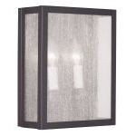 "Milford Collection 2-Light 9"" Bronze Wall Sconce with Clear Seeded Glass 4050-07"