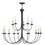 "Heritage Collection 10+5-Light 36"" Black Chandelier 4460-04"