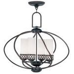 "Westfield Collection 4-Light 22"" Olde Bronze Chandelier with Hand Blown Satin White Glass 4724-67"
