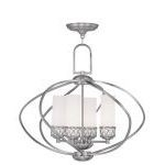"Westfield Collection 4-Light 22"" Brushed Nickel Chandelier with Hand Blown Satin White Glass 4724-91"