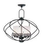 "Westfield Collection 5-Light 26"" Olde Bronze Chandelier with Hand Blown Satin White Glass 4725-67"