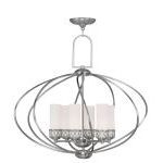 "Westfield Collection 6-Light 29"" Brushed Nickel Chandelier with Hand Blown Satin White Glass 4726-91"