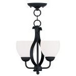 "Brookside Collection 2-Light 13"" Black Convertible Chain Hang/Ceiling Mount with Hand Blown Satin White Glass 4762-04"