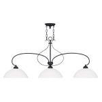 "Brookside Collection 3-Light 13"" Black Island with Hand Blown Satin White Glass 4783-04"