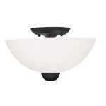 "Brookside Collection 2-Light 13"" Black Ceiling Mount with Hand Blown Satin White Glass 4792-04"