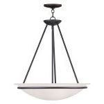 "Newburgh Collection 3-Light 20"" Black Pendant with White Alabaster Glass 4826-04"