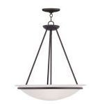 "Newburgh Collection 3-Light 20"" Bronze Pendant with White Alabaster Glass 4826-07"