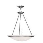 "Newburgh Collection 3-Light 20"" Brushed Nickel Pendant with White Alabaster Glass 4826-91"