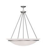 "Newburgh Collection 5-Light 28"" Brushed Nickel Pendant with White Alabaster Glass 4828-91"
