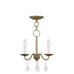 "Mercer Collection 3-Light 12"" Antique Gold Leaf Mini Chandelier 4843-48"