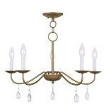 "Mercer Collection 5-Light 24"" Antique Gold Leaf Chandelier 4845-48"