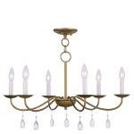 "Mercer Collection 6-Light 26"" Antique Gold Leaf Chandelier 4846-48"