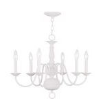 "Williamsburg Collection 6-Light 24"" White Chandelier 5006-03"