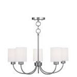 "Sussex Collection 5-Light 24"" Brushed Nickel Convertible Chain Hang Chandelier/Ceiling Mount with Hand-Made Off-White Linen Hardback Sit-on Shade 5265-91"