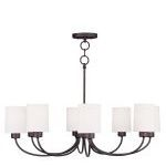 "Sussex Collection 8-Light 30"" Bronze Convertible Chain Hang Chandelier/Ceiling Mount with Hand-Made Off-White Linen Hardback Sit-on Shade 5268-07"