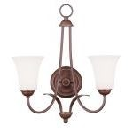 "Ridgedale Collection 2-Light 16"" Vintage Bronze Wall Sconce with Hand Blown Satin White Glass 6472-70"