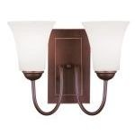 "Ridgedale Collection 2-Light 15"" Vintage Bronze Wall Sconce with Hand Blown Satin White Glass 6492-70"