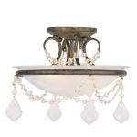 "Chesterfield Collection 2-Light 12"" Venetian Golden Bronze Ceiling Mount with White Alabaster Glass 6523-71"