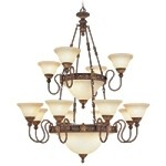 "Sovereign Collection 18-Light 48"" Crackled Bronze Chandelier with Vintage Scavo Glass 8608-30"