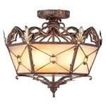 "Bristol Manor Collection 3-Light 17"" Palacial Bronze Semi-Flush Mount with Hand Painted Art Glass 8824-64"