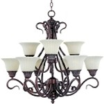 "Via Roma Collection 9-Light 30"" Greek Bronze Chandelier with Soft Vanilla Glass 2775SVGB"
