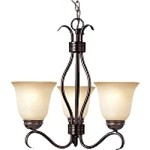 "Basix Collection 3-Light 19"" Oil Rubbed Bronze Energy Star Mini Chandelier with Wilshire Glass 85123WSOI"