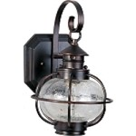 "Portsmouth Collection 1-Light 13"" Oil Rubbed Bronze Outdoor Wall Lantern with Seedy Glass 30502CDOI"
