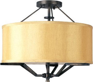 "Avant Collection 3-Light 17"" Semi-Flush Mount with Champagne Fabric Shade 21251CHGA"
