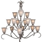 "Basix Collection 15-Light 42"" Satin Nickel Chandelier with Ice Glass 10129ICSN"