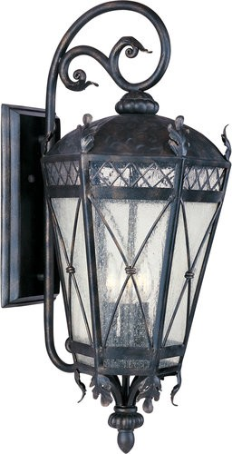 "Canterbury Collection 5-Light 33"" Artesian Bronze Outdoor Wall Lantern with Seedy Glass 30457CDAT"