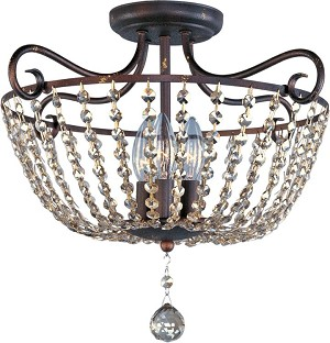 "Adriana Collection 3-Light 18"" Urban Rustic Semi-Flush Mount 22191UR"