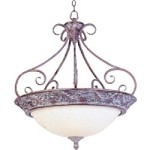 "Apollo Collection 4-Light 32"" Greek Bronze Inverted Pendant with White Alabaster Glass 2227WHGB"