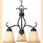 "Basix Collection 3-Light 19"" Oil Rubbed Bronze Energy Star Down Light Mini Chandelier with Wilshire Glass 85122WSOI"