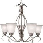 "Basix Collection 5-Light 26"" Satin Nickel Energy Star Chandelier with Ice Glass 85125ICSN"