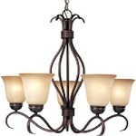 "Basix Collection 5-Light 26"" Oil Rubbed Bronze Energy Star Chandelier with Wilshire Glass 85125WSOI"