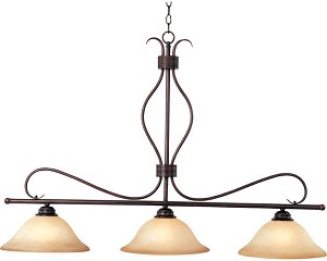 "Basix Collection 3-Light 48"" Oil Rubbed Bronze Island Light with Wilshire Glass 10127WSOI"