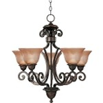 "Symphony Collection 5-Light 27"" Oil Rubbed Bronze Chandelier with Screen Amber Glass 11244SAOI"