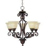 "Symphony Collection 5-Light 27"" Oil Rubbed Bronze Chandelier with Soft Vanilla Glass 11244SVOI"