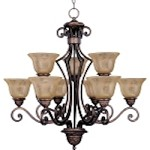 "Symphony Collection 9-Light 32"" Oil Rubbed Bronze Chandelier with Screen Amber Glass 11245SAOI"