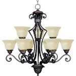 "Symphony Collection 9-Light 32"" Oil Rubbed Bronze Chandelier with Soft Vanilla Glass 11245SVOI"