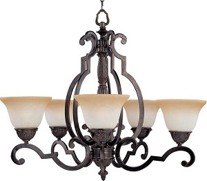 "Southern Collection 5-Light 29"" Kentucky Bronze Chandelier with Latte Glass 2934LTKB"