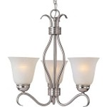 "Basix Collection 3-Light 19"" Satin Nickel Energy Star Mini Chandelier with Ice Glass 85123ICSN"